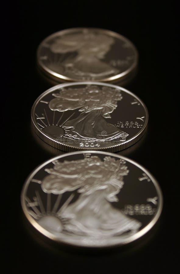Three Silver Dollars royalty free stock photos