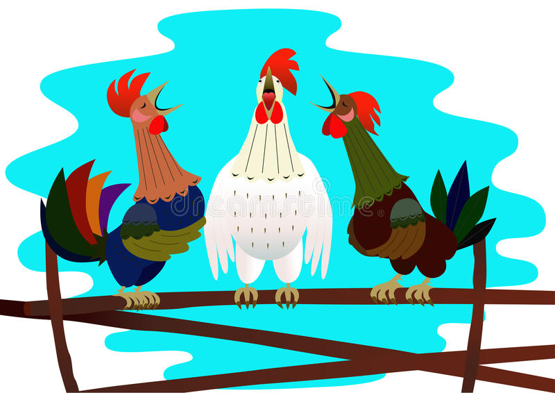 Three singing rooster stock illustration