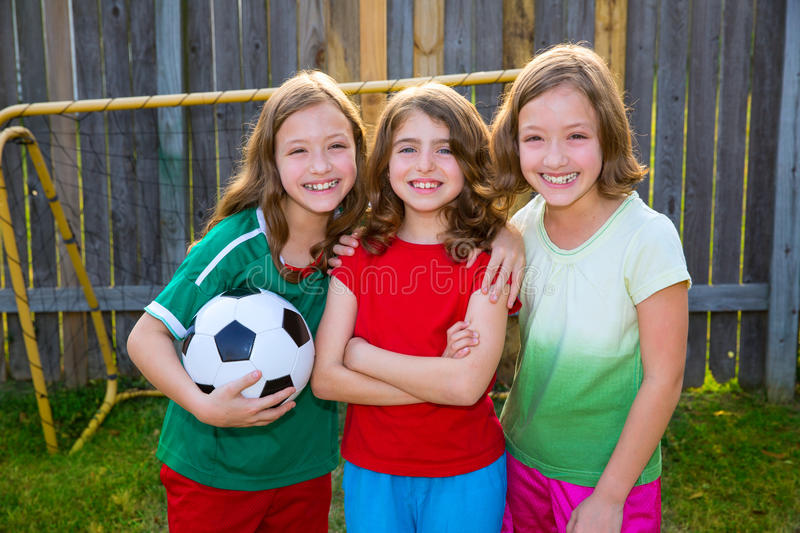 Download Three Sister Girls Friends Soccer Football Winner Players Stock Photo - Image: 31372884