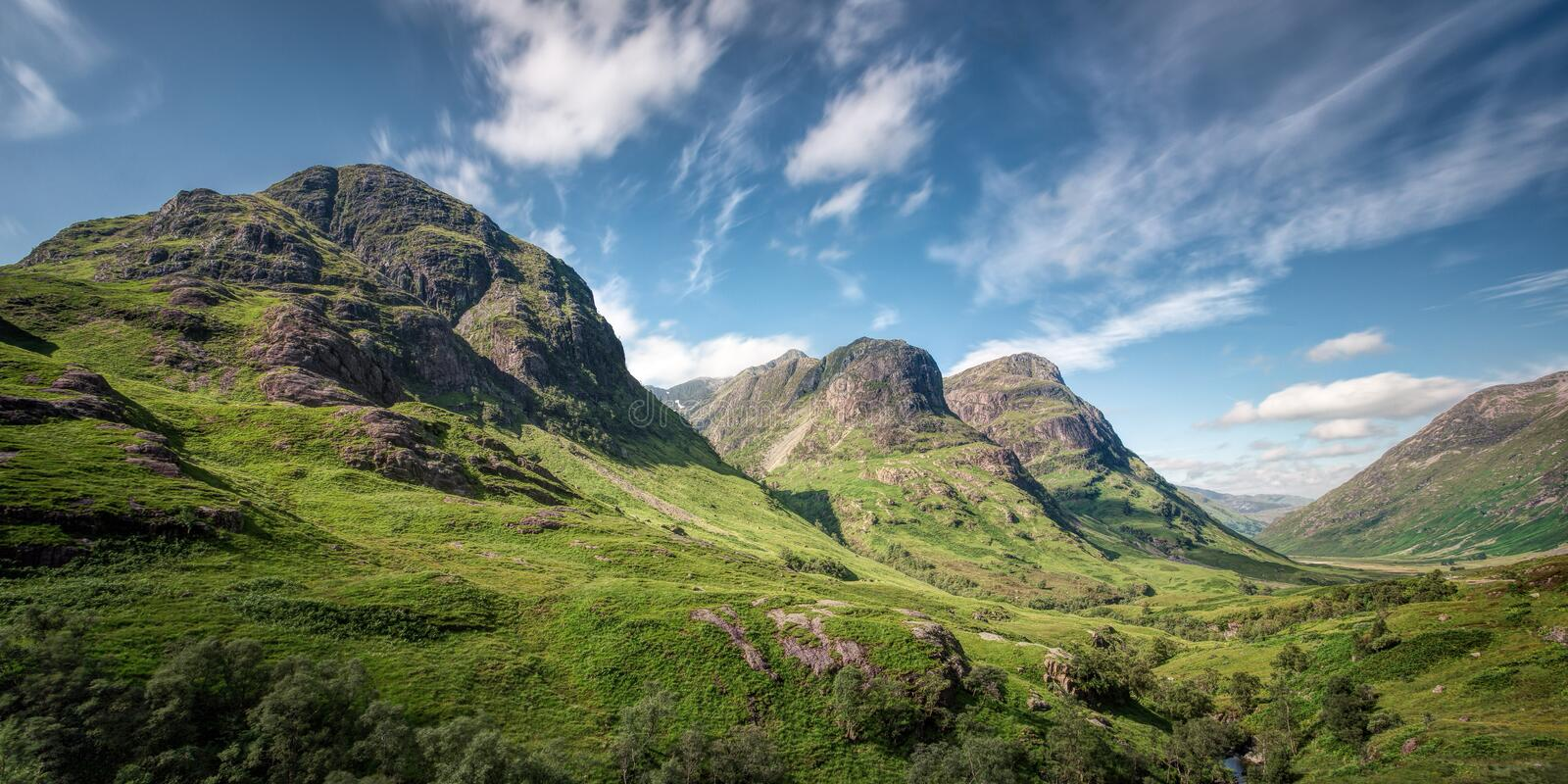 Three Sisters of Bidean nam Bian, Glen Coe, Scotland royalty free stock photo