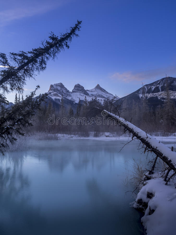 Three Sisters from a frozen Policemen`s Creek stock photo