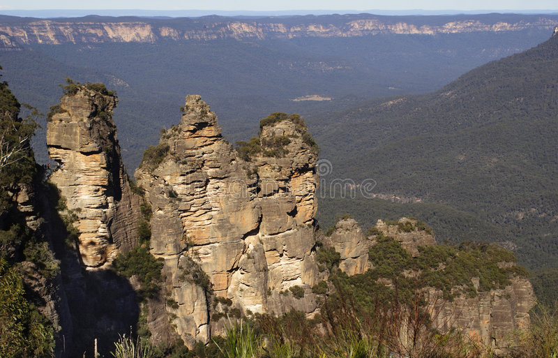 Three sisters Mountains stock images