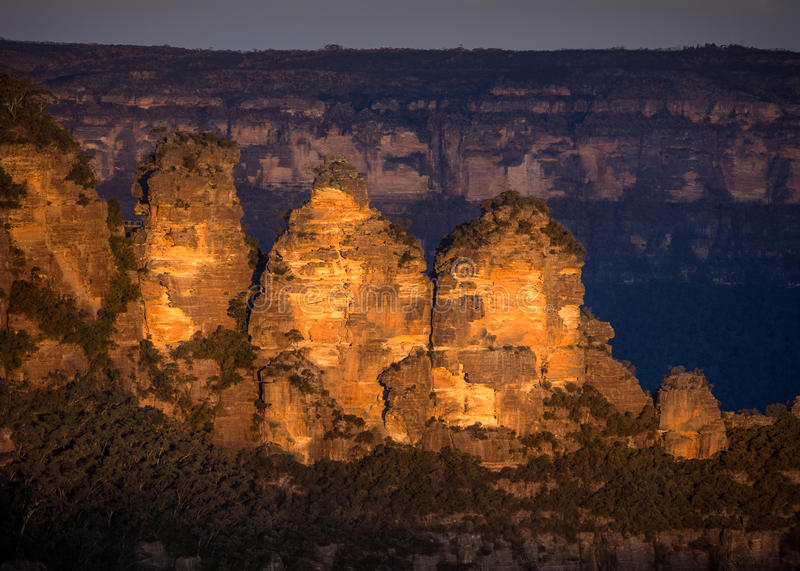 Download Three Sisters at sunset stock image. Image of sunset - 61007729