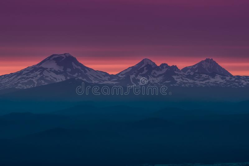 The Three Sisters at Sunset Near Bend Oregon royalty free stock photography