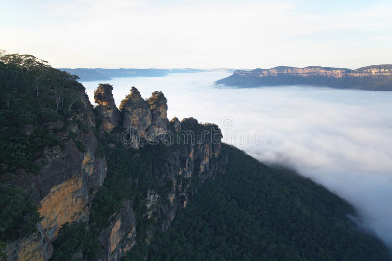Download The Three Sisters Surrounded By Morning Fog Stock Images - Image: 15351644