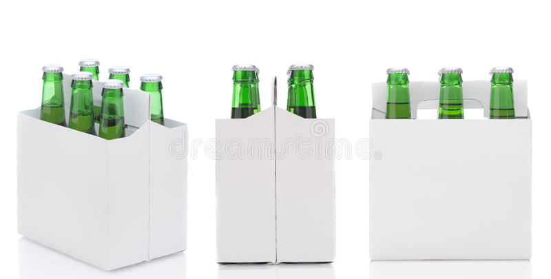 Three Six Packs of Beer. Three views of a Six Pack of green Beer Bottles isolated over white with reflection stock images