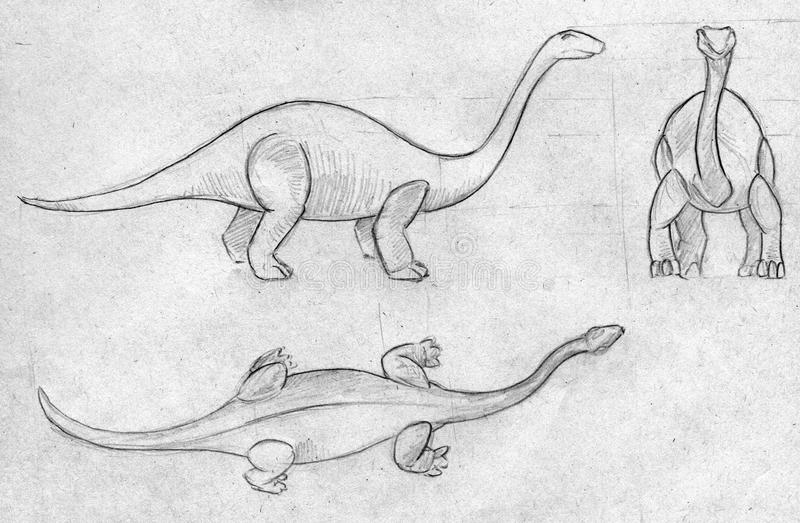 Download Three Sketches Of A Dinosaur Stock Illustration - Image: 42563896