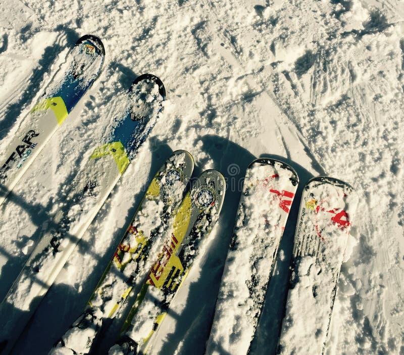Three ski stock photography
