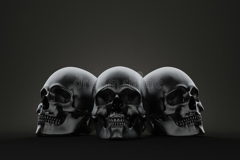 Three skull on the block. Still life render stock illustration