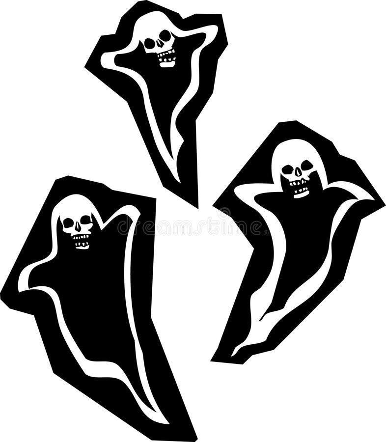 Three Skull Ghosts Royalty Free Stock Photos