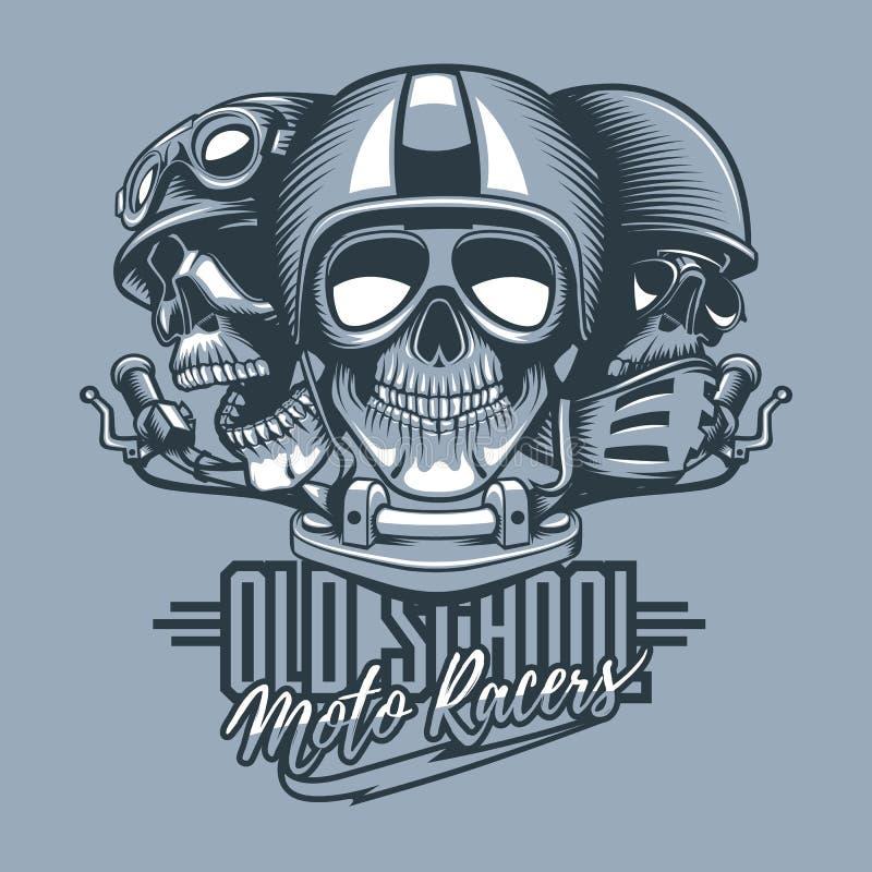 Three skulls riders in helmets and text, Old School Moto Racers. Monochromic tattoo style vector illustration