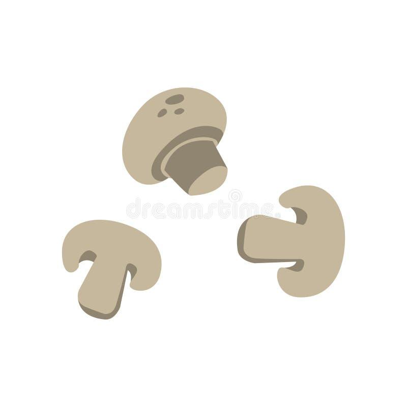 Three Sliced Mushrooms Primitive Cartoon Icon, Part Of Pizza Cafe Series Of Clipart Illustrations vector illustration
