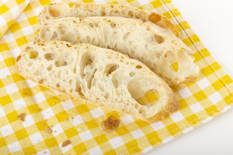 Three slices of ciabatta bread stock photo
