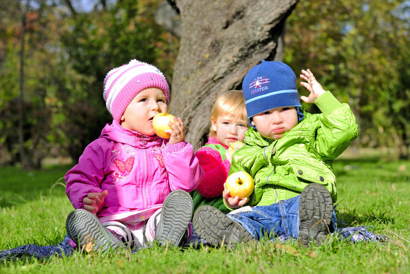 Three small children sit on a green clearing. Eat apples stock photo