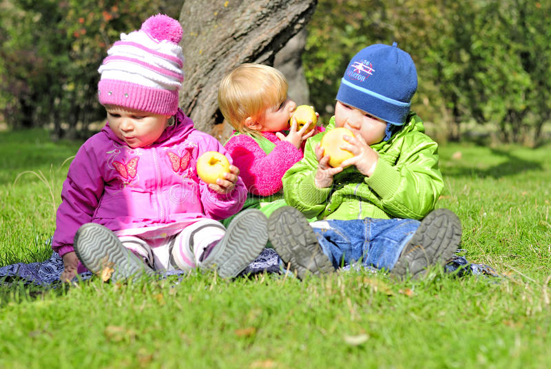 Three small children sit on a green clearing. Eat apples royalty free stock photos