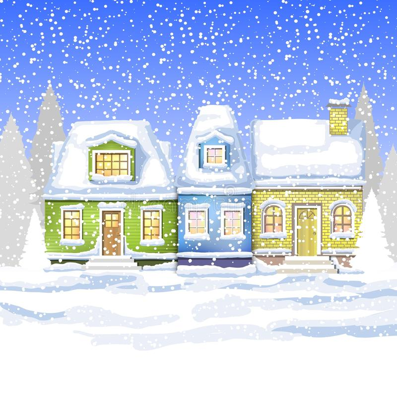 Free Three Small Houses In The Winter Countryside. Winter Card Stock Images - 82228654