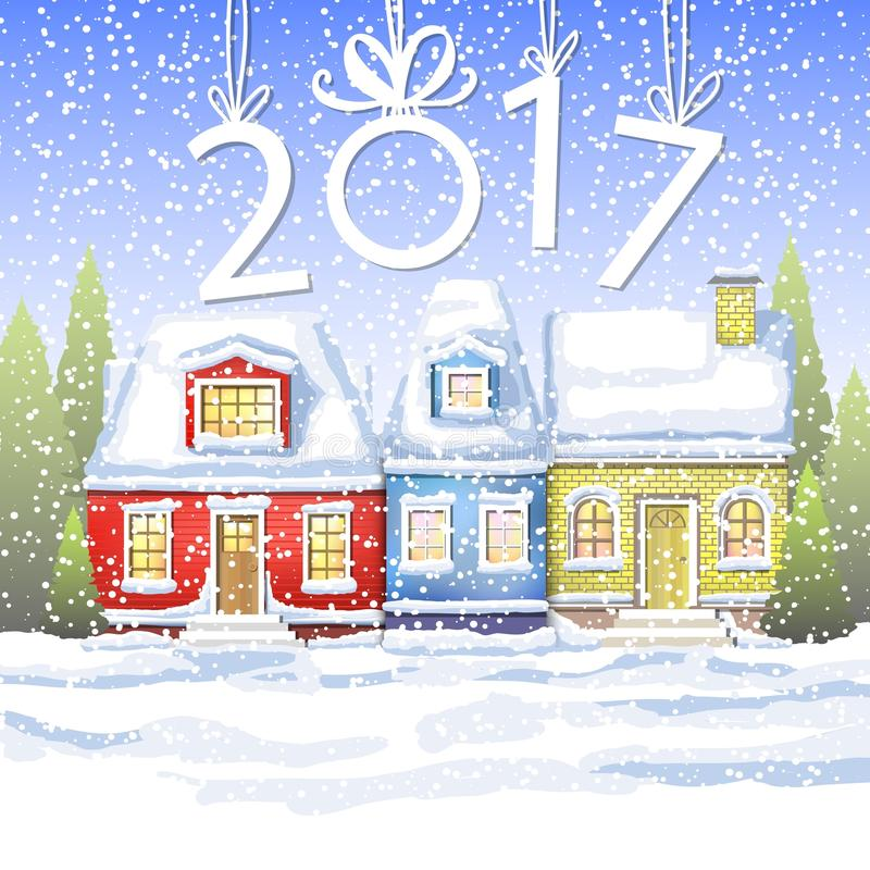 Free Three Small Houses In The Winter Countryside. Winter Card Happy New Year. Winter Landscape Stock Photo - 82227830