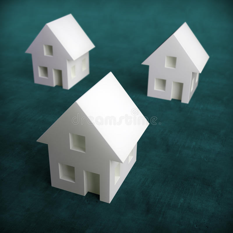 Free Three Small White Houses Stock Images - 19381254