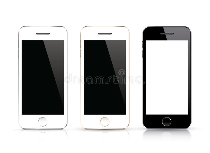 Three smart phone vector. Black and white smartphone isolations with realistic design. stock illustration
