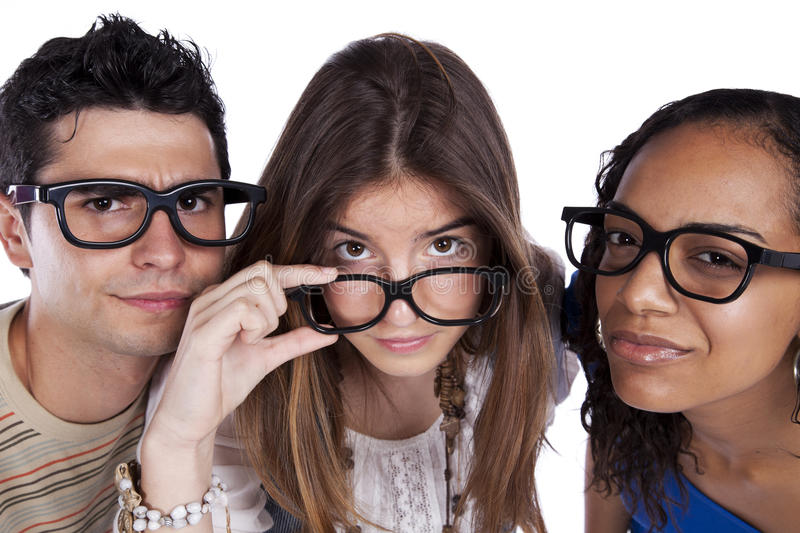Three smart student friends stock image