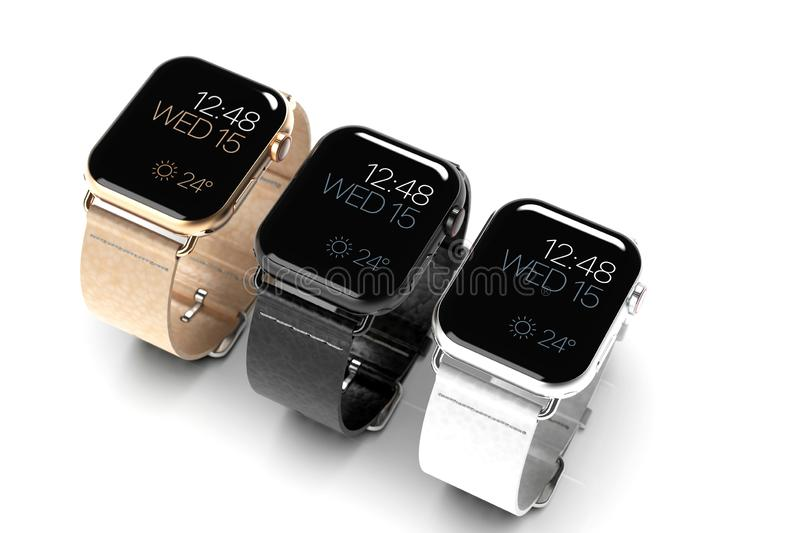 3 smart watches - Apple Watch 4, all colors, on white stock illustration