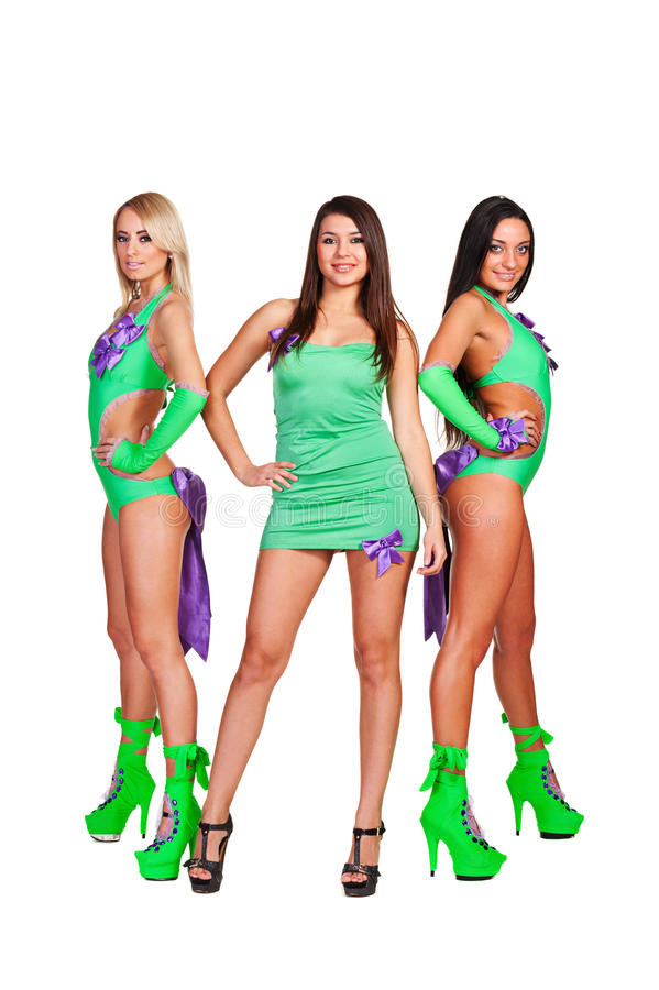Three smiley go-go dancers