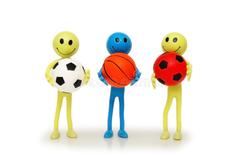 Download Three Smilies With Footballs Stock Image - Image of hoops, girl: 1608957