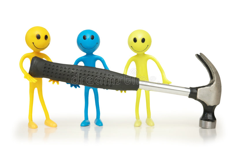Three smilies holding hammer