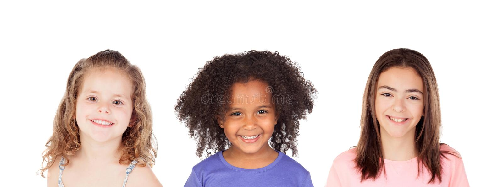 Three smiling children stock photo