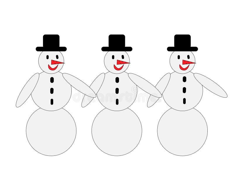 Three snowmen with black hats royalty free illustration