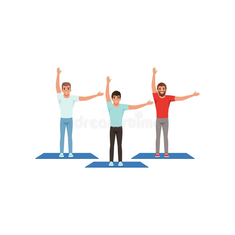 Smiling men warming-up and stretching before training. Male fitness group. Active workout. Young guys in sportswear stock illustration