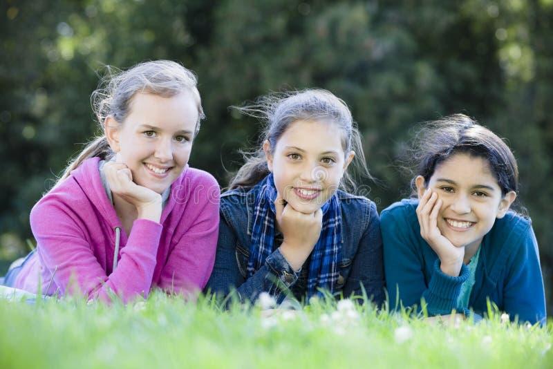 Three Smiling Tween Girls stock photos