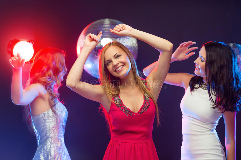 Download Three Smiling Women Dancing In The Club Stock Image - Image of event, high: 35015085