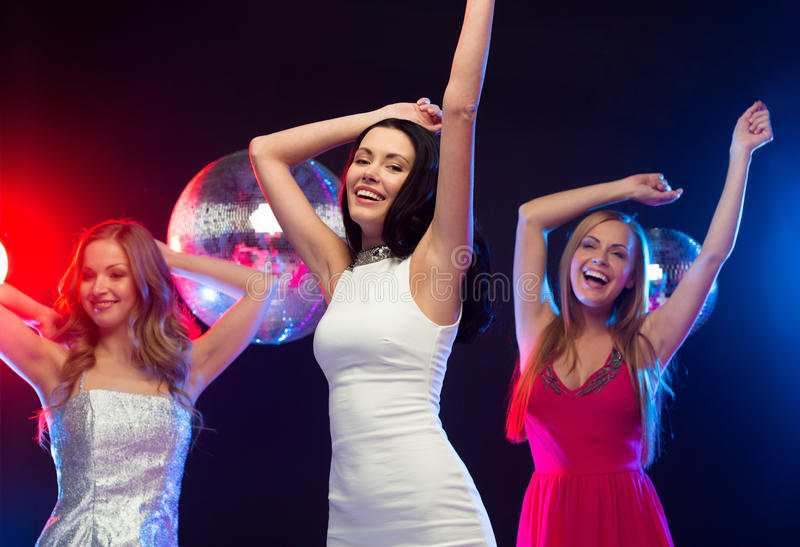 Download Three Smiling Women Dancing In The Club Stock Image - Image of ball, leasure: 35018615