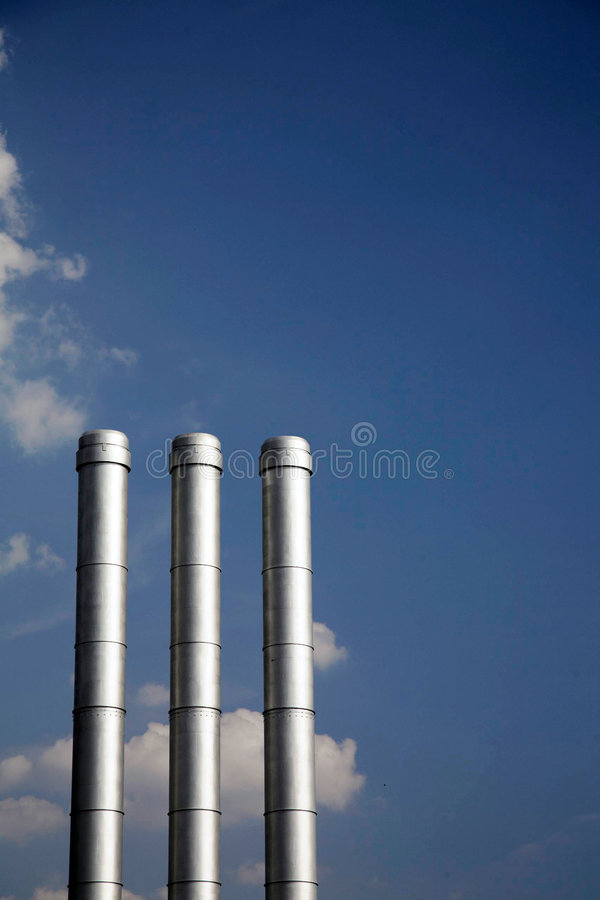 Three Smokestacks royalty free stock photos