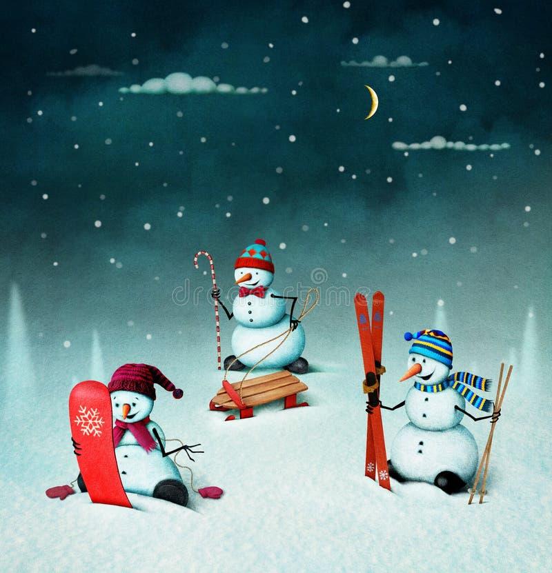 Three snowman stock illustration