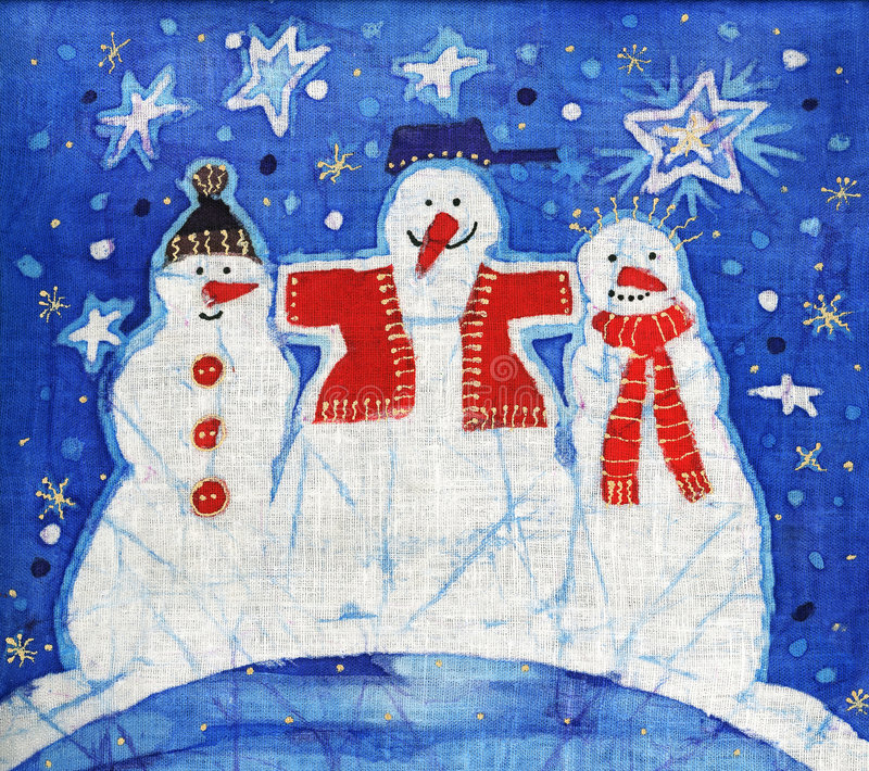 Download Three snowmans stock illustration. Image of blue, tale - 3534404