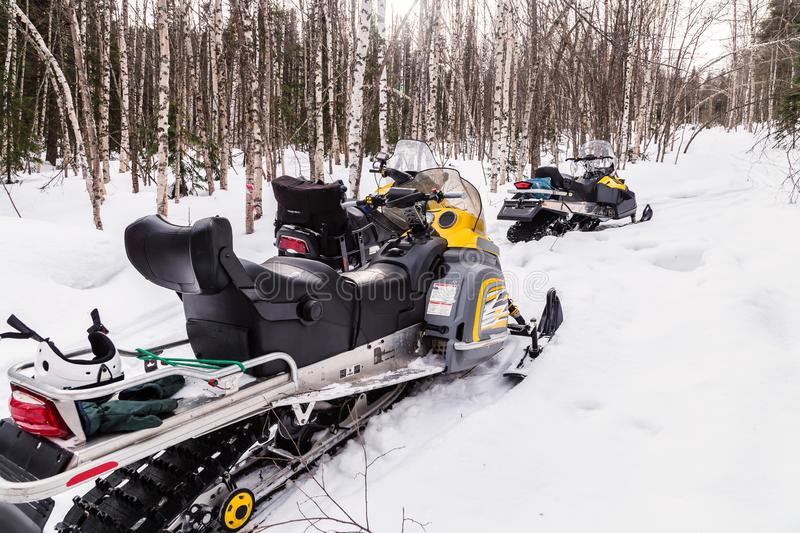 Image with snowmobiles. stock photo