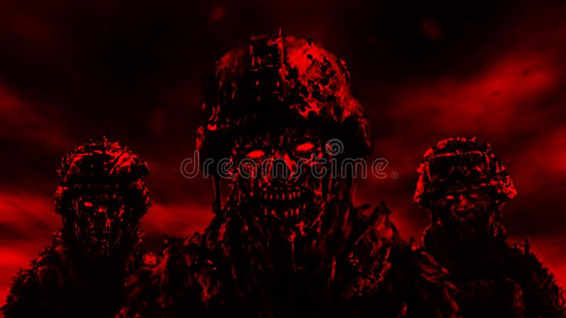 Three soldiers zombies in helmets. Red color. Three soldiers zombies in helmets stand against a dark sky. Illustration in genre of horror. Red color stock illustration