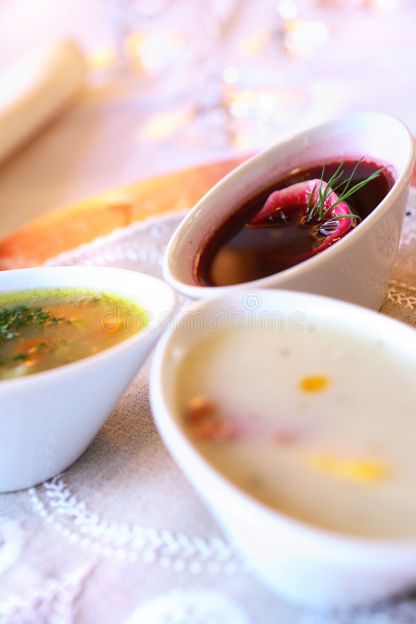 Three soups in bowls royalty free stock photos