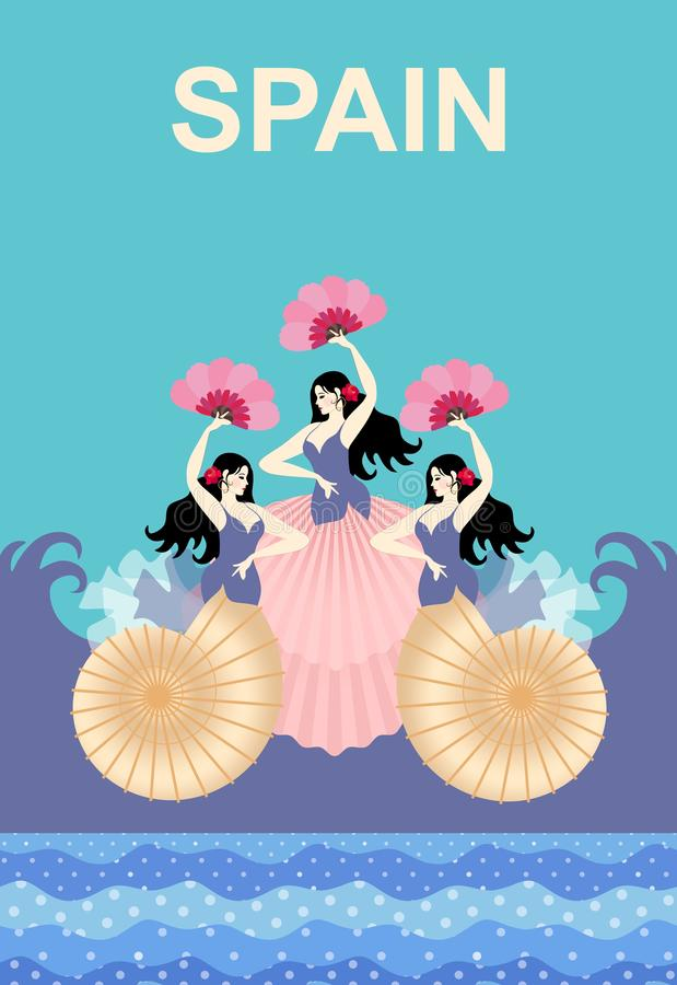 Three Spanish girls in the form of mermaids, and with fans in their hands, dancing flamenco against the ocean. Sea shells. stock illustration