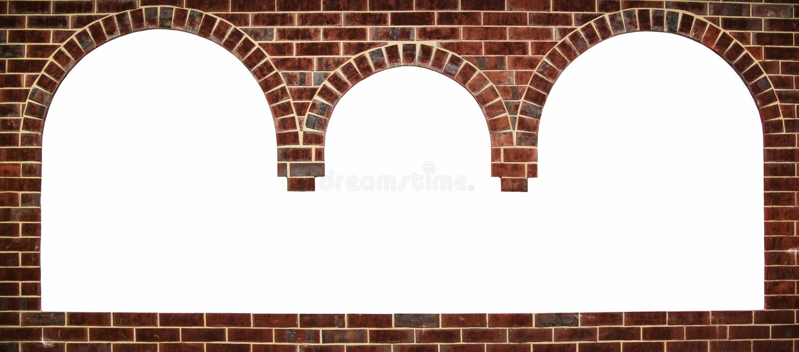 The three-spatial arch. With space for text frame in brick wall background stock photo