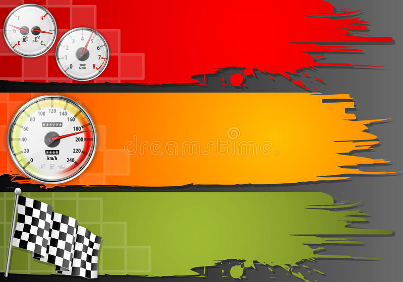 Three Speed Frame. With Detailed Car Speedometer, Tachometer, Fuel and Temperature Gauges and Flag, vector royalty free illustration