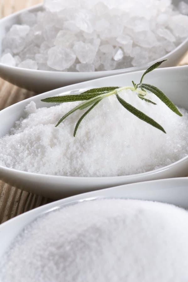 Free Three Spoons With Difrent Salt Stock Photo - 14160650