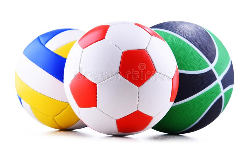 Three sport balls over white background stock images