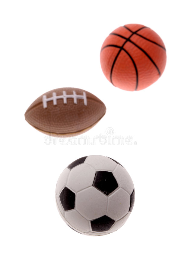 Three sports balls stock photo