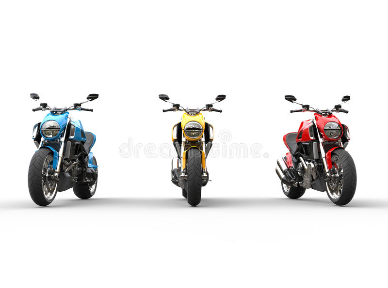 Three sports motorcycles in a row - front view. Isolated on white background royalty free illustration