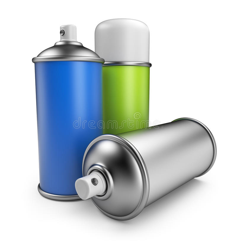 Three spray can. 3D icon isolated royalty free illustration