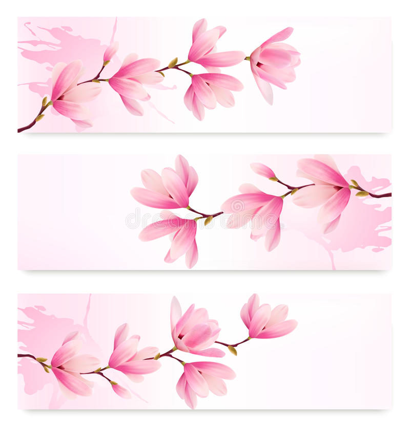 Free Three Spring Banners With Blossom Brunch Of Pink Flowers. Stock Images - 49565634