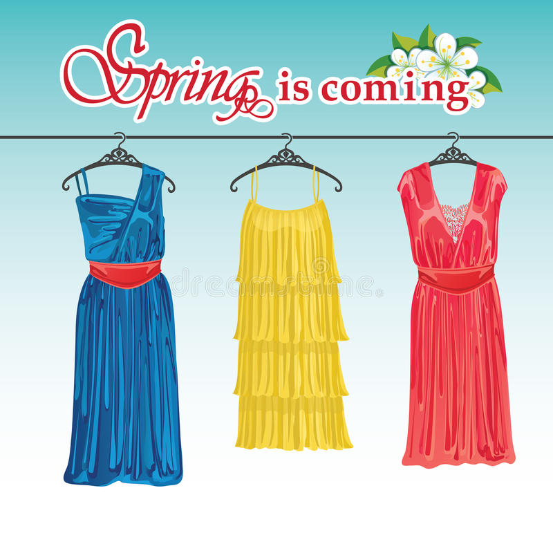 Free Three Spring Coctail Dresses On A Hanger. Stock Image - 39179521